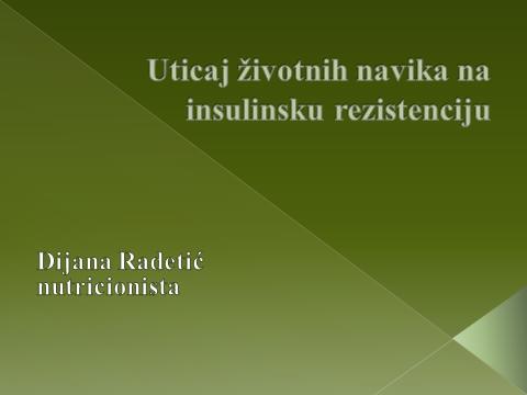 Izlaganje rada na temu Uticaj životnih navika na insulinsku rezistenciju